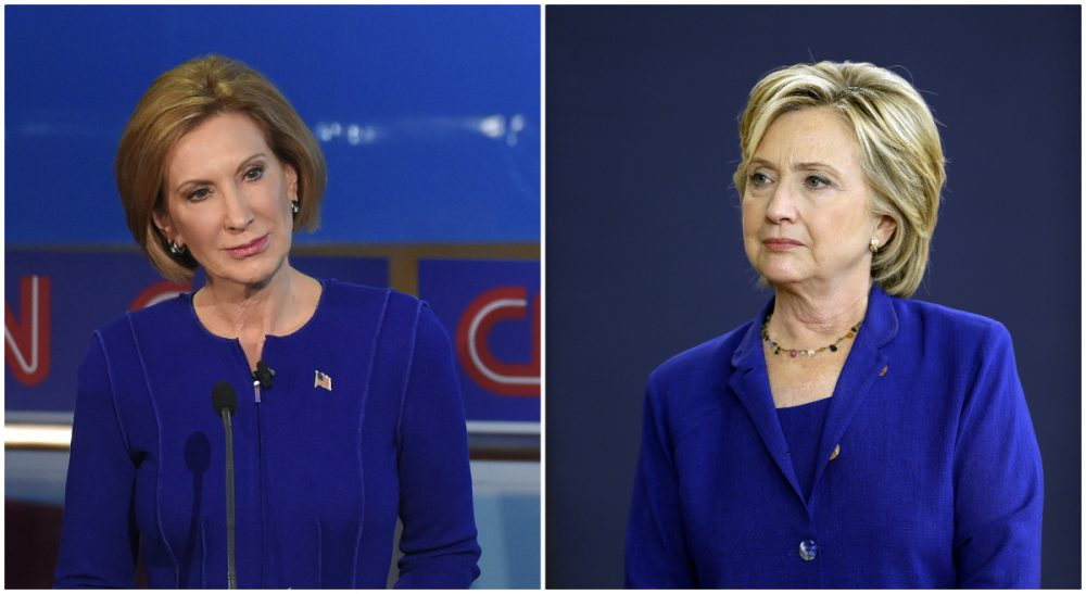 Renée Loth: Do we want diversity in the name of simple equity? Or do we want women to bring a different perspective and promote a different agenda? Photos: Republican presidential candidate Carly Fiorina, pictured on Sept. 16, 2015, and Democratic presidential candidate Hillary Clinton, pictured on Sept. 22, 2015. (Mark J. Terrill, Charlie Neibergall/ AP)