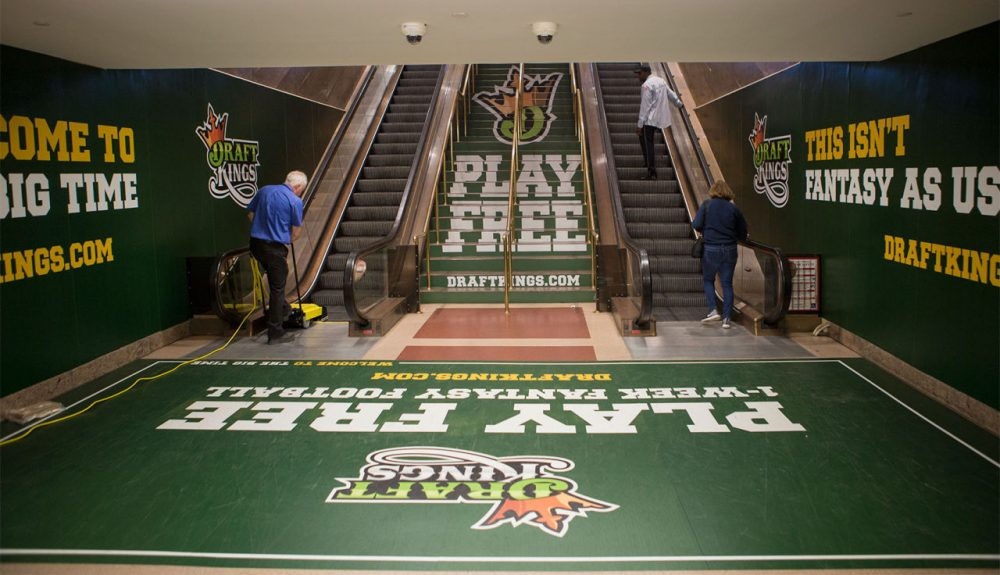 DraftKings advertisements at South Station (Jesse Costa/WBUR)