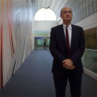 Matthew Teitelbaum, the new MFA director, stands in one of the museum's main hallways. (Hadley Green for WBUR)