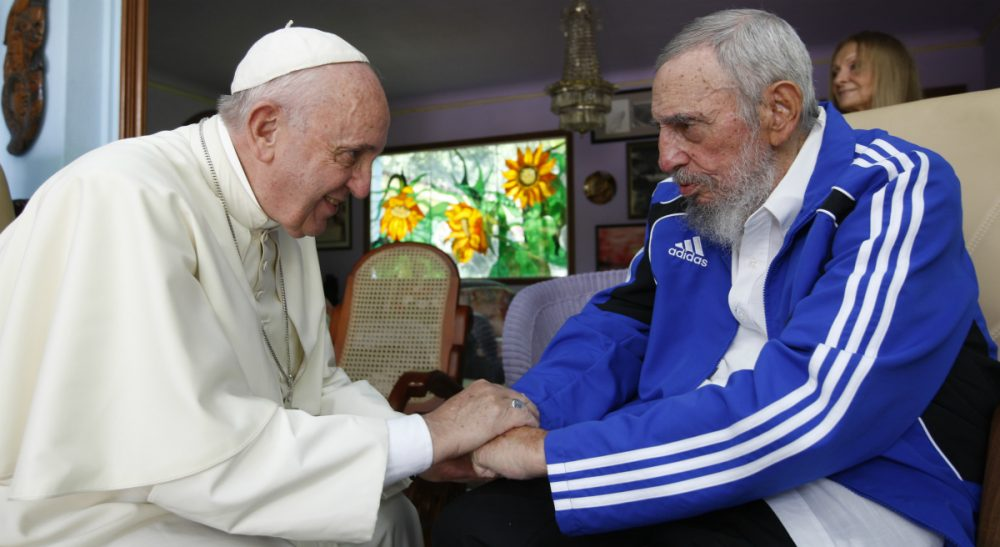 Pope Francis meets Fidel Castro in Havana, Cuba, Sunday, Sept. 20, 2015. The Vatican described the 40-minute meeting at Castro's residence as informal and familial, with an exchange of books. (Alex Castro/ AP)