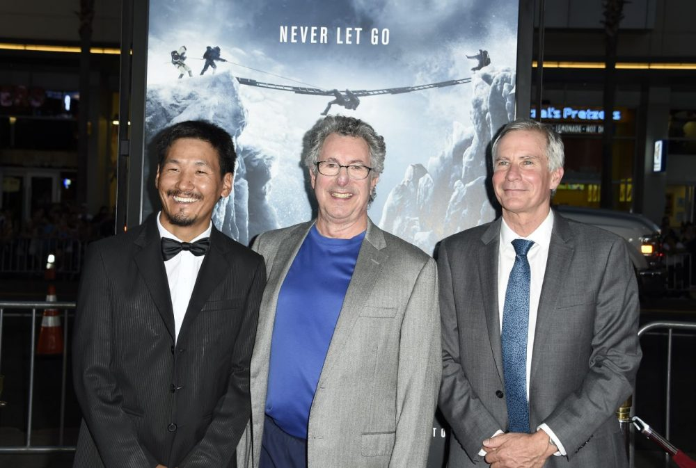"""Mount Everest guide Ang Phula Sherpa (L), Dr Beck Weathers (C), who survived a Mount Everest expedition, and US mountaineer and filmmaker David Breashears (R), attend the premiere of Universal Pictures' """"Everest,"""" September 9, 2015 at the TCL Chinese Theatre in Hollywood, California.  (Robyn Beck/AFP/Getty Images)"""