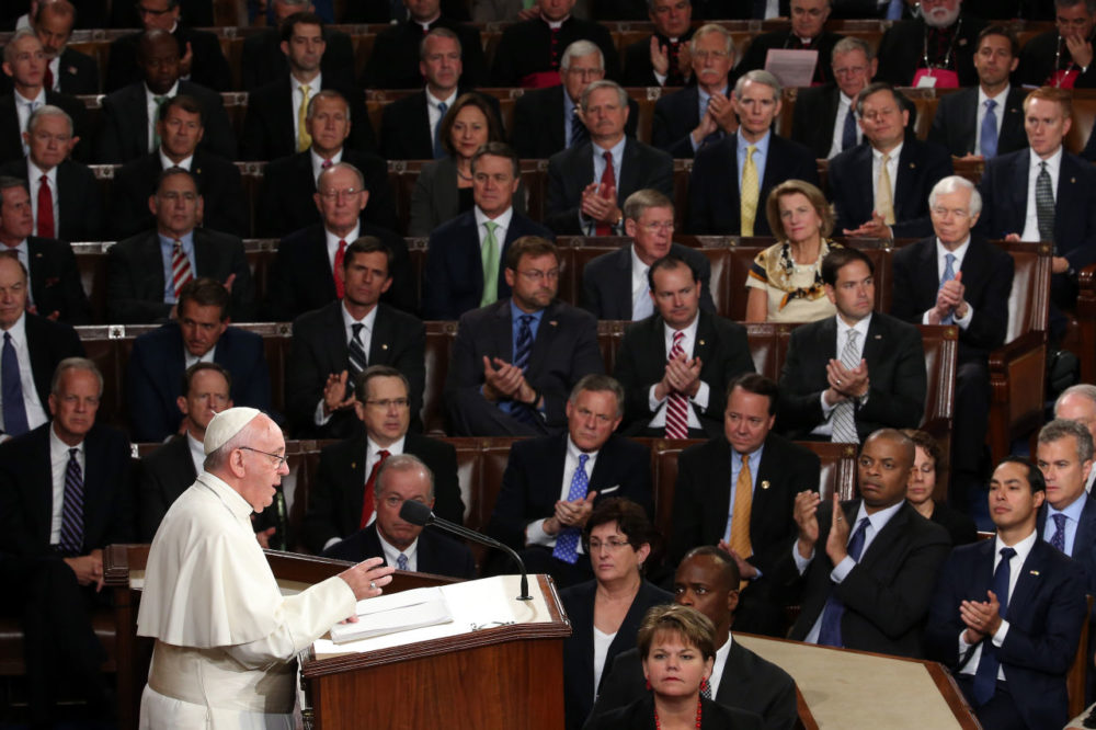 Pope Francis addresses a joint meeting of the U.S. Congress in the House Chamber of the U.S. Capitol.  (Win McNamee/Getty Images)