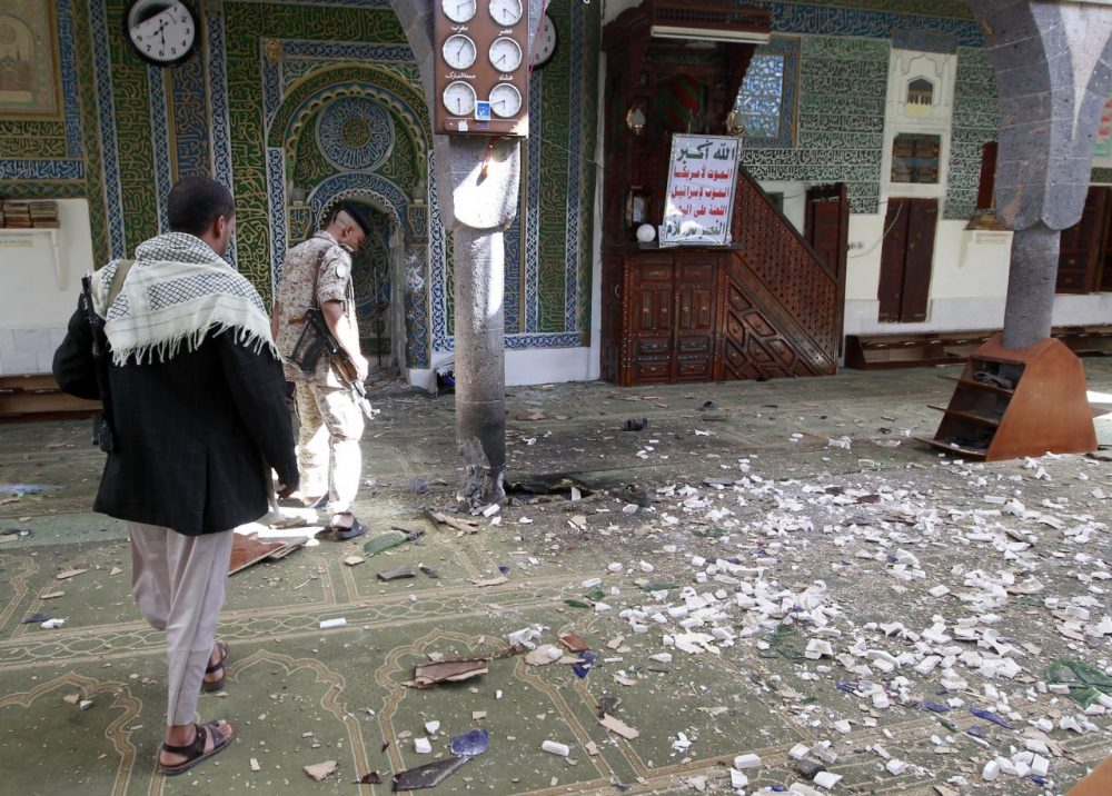 A Yemeni Huthi rebel checks the Balili mosque in the capital Sanaa, following an explosion on on the first day of Eid al-Adha.  (Mohammed Huwais/Getty Images)