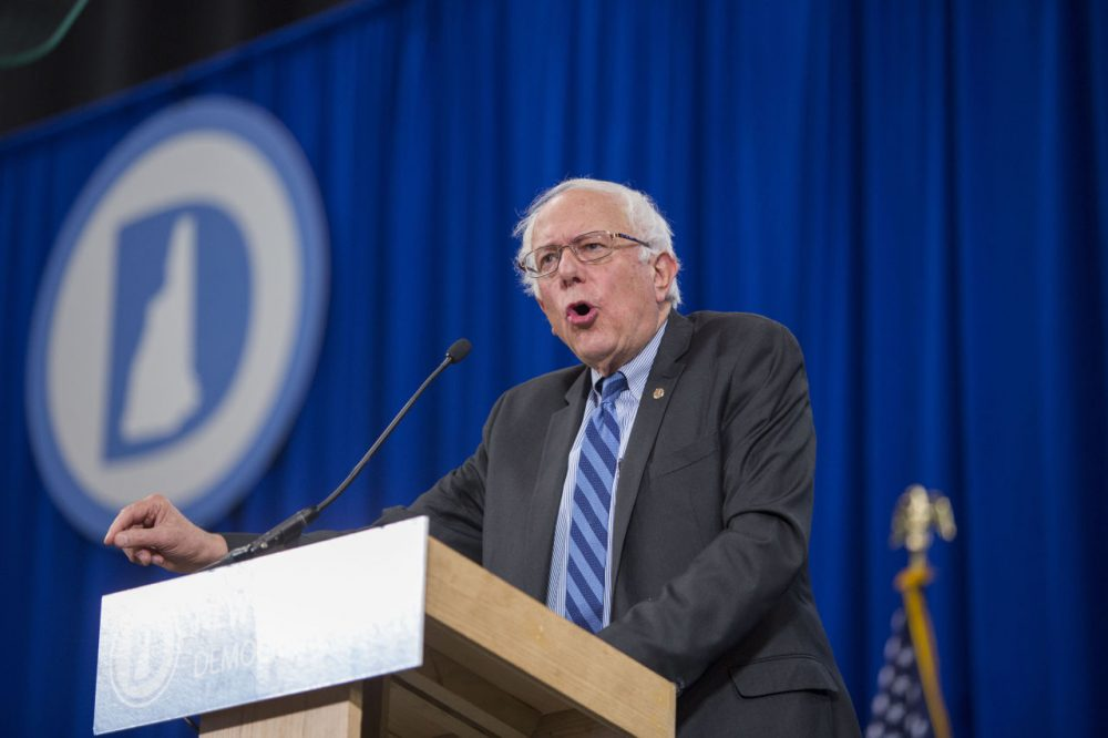 Democratic Presidential candidate Senator Bernie Sanders (I-VT) talks on stage during the Democratic Party State Convention in New Hampshire, the first state to hold primary elections.  (Scott Eisen/Getty Images)