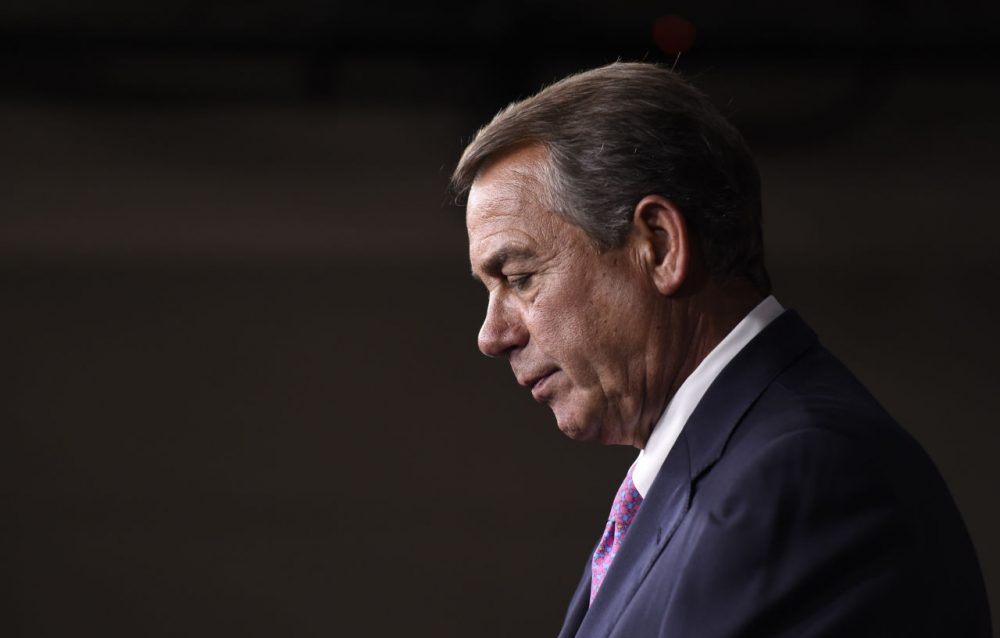 House Speaker John Boehner of Ohio pauses during a news conference on Capitol Hill in Washington, Wednesday, July 29, 2015. An effort by a conservative Republican to strip Boehner of his position as the top House leader is largely symbolic, but is a sign of discontent among the more conservative wing of the House GOP. On Tuesday, Rep. Mark Meadows of North Carolina, who was disciplined earlier this year by House leadership, filed a resolution to vacate the chair, an initial procedural step.(AP Photo/Susan Walsh)
