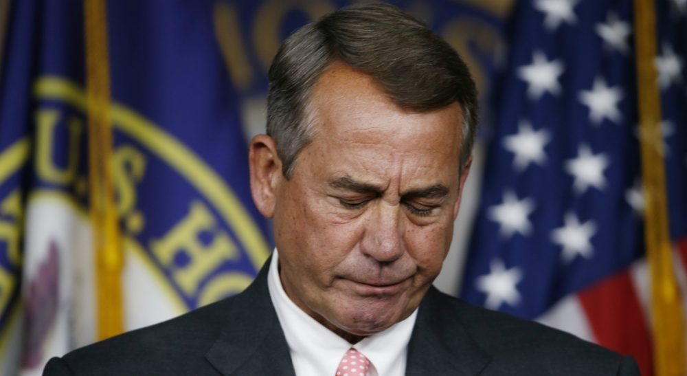 House Speaker John Boehner speaks during a press conference on Capitol Hill Friday following news that he would resign in October. Boehner was facing the threat of a floor vote on whether he could stay on as speaker, a formal challenge that hasn't happened in over 100 years. (Steve Helber/ AP)