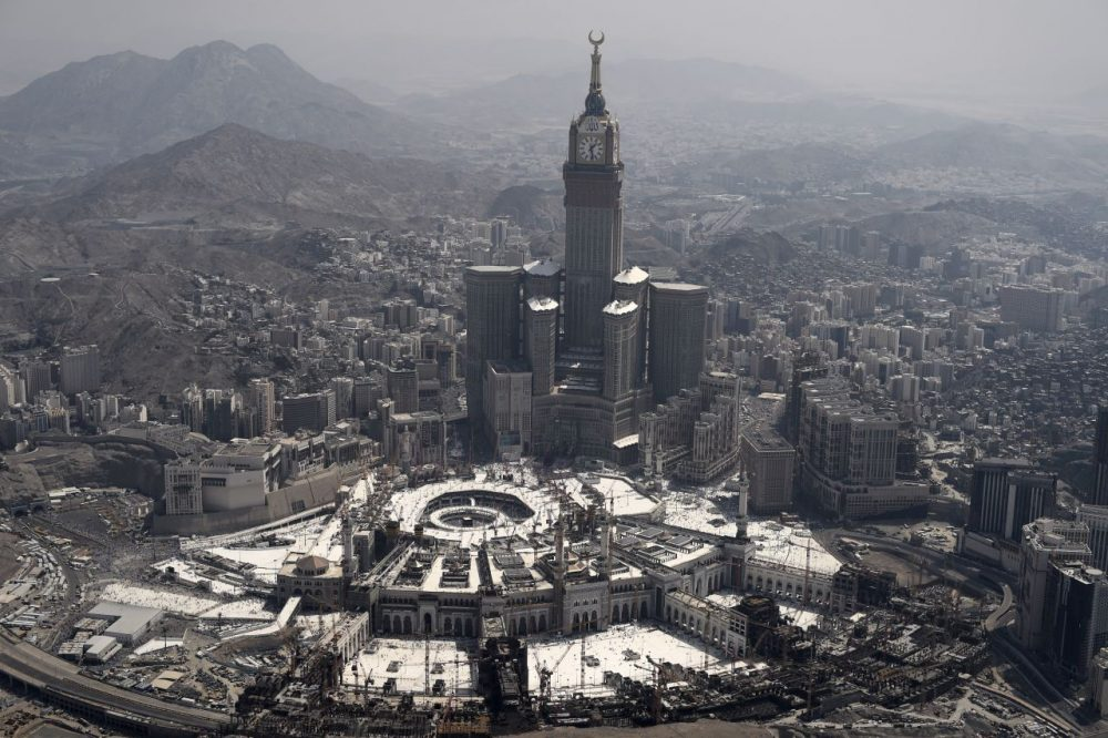 An aerial view of the Clock Tower and the Grand Mosque in the Saudi holy city of Mecca, where prospective pilgrims resume the final day of hajj today.      (Mohammed Al-Shaikh/AFP/Getty Images)