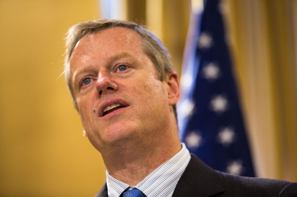 Governor Charlie Baker said a screening program could help curtail opioid addiction among young people, but made clear he would not accept making it mandatory for school districts. (Jesse Costa/WBUR)