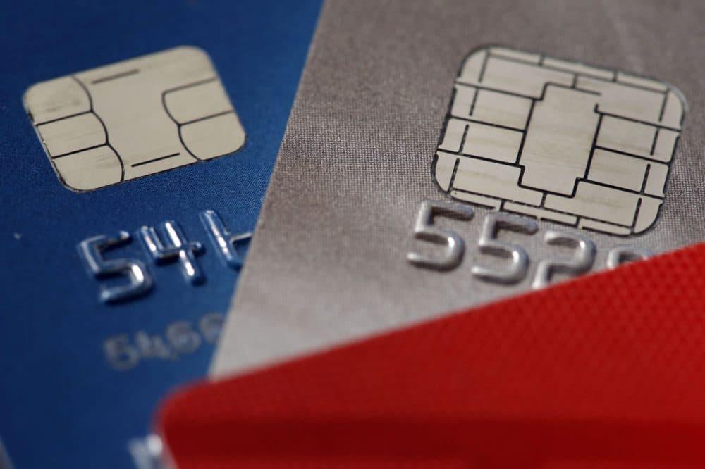 Chip credit cards are pictured in Philadelphia on June 10, 2015. (Matt Rourke/AP)