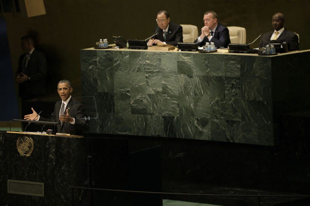 U.S. President Barack Obama delivers remarks at the United Nations Sustainable Development Summit September 27, 2015 at United Nations headquarters in New York City. The summit will run for three days prior to the start of the 70th session General Debate of the United Nations General Assembly. (Peter Foley/Getty Images)