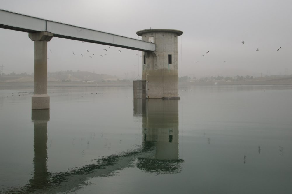 The Los Angeles Aqueduct ends at the Los Angeles Resevoir in Sylmar, Calif. (Mae Ryan/KPCC)