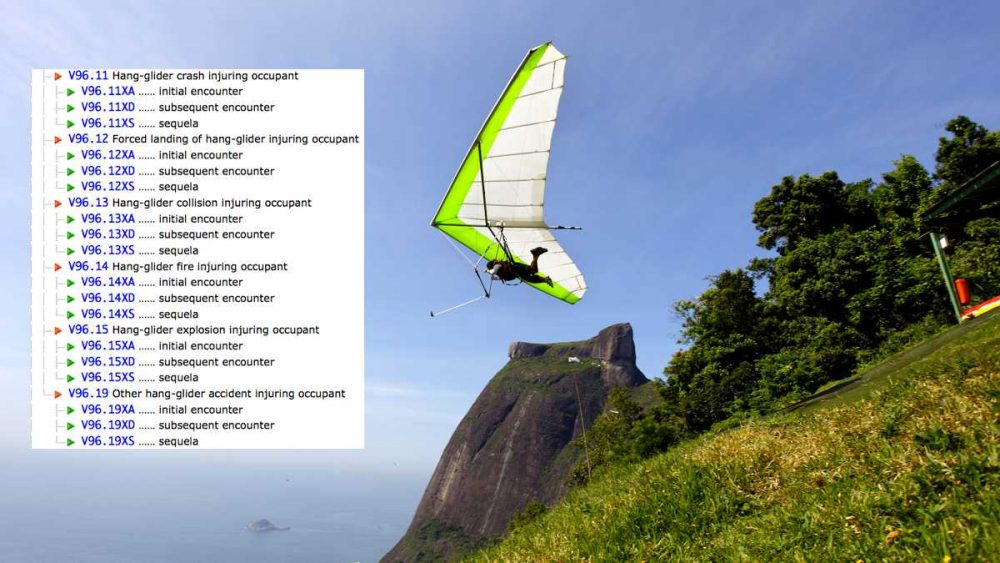 When ICD-10 is implemented, hang glider accidents will finally become part of the official medical billing code. (Image via WHYY using 2015 Diagnosis Codes from ICD10Data.com and ShutterStock photo)