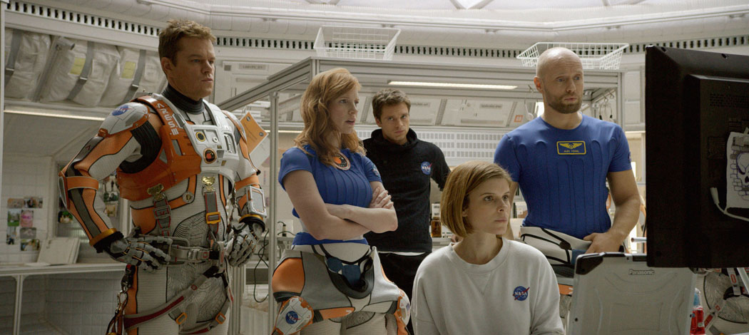"Matt Damon, Jessica Chastain, Sebastian Stan, Kate Mara and Aksel Hennie portray the crew members of the fateful mission to Mars in ""The Martian."" (Courtesy 20th Century Fox)"