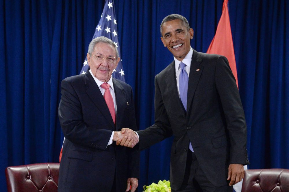 U.S. President Barack Obama (right) and President Raul Castro (left) of Cuba shake hands during a bilateral meeting at the United Nations Headquarters on September 29, 2015 in New York City. Castro and Obama are in New York City to attend the 70th anniversary general assembly meetings. (Anthony Behar/Getty Images)