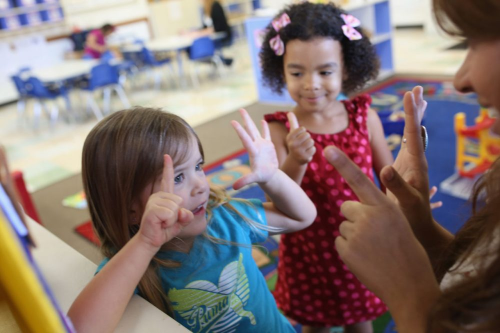 Children at Scripps Ranch KinderCare in San Diego play in their classroom on October 1, 2013 in San Diego, CA. (Robert Benson/Getty Images for Knowledge Universe)