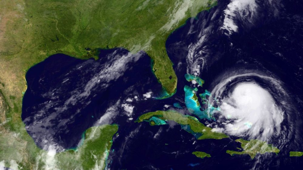 In this handout from the National Oceanic and Atmospheric Administration (NOAA), Hurricane Joaquin is seen churning in the Caribbean on September 30, 2015. Joaquin was upgraded to a Category 1 hurricane early on September 30. The exact track has yet to be determined, but there is a possibity of landfall in the U.S. anywhere from North Carolina to the Northeast. (NOAA via Getty Images)