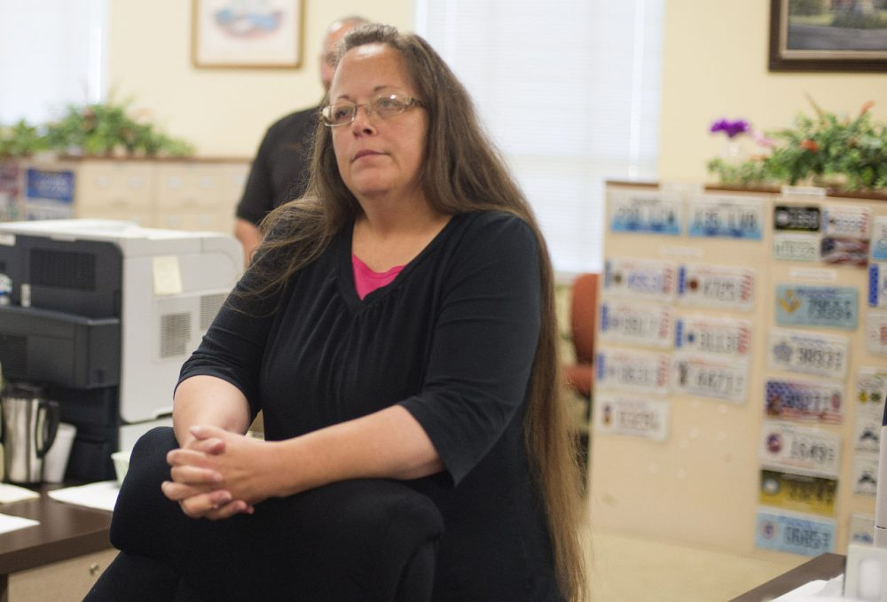 Kim Davis, the Rowan County Clerk of Courts, is pictured at the County Clerks Office on September 2, 2015 in Morehead, Kentucky. (Ty Wright/Getty Images)