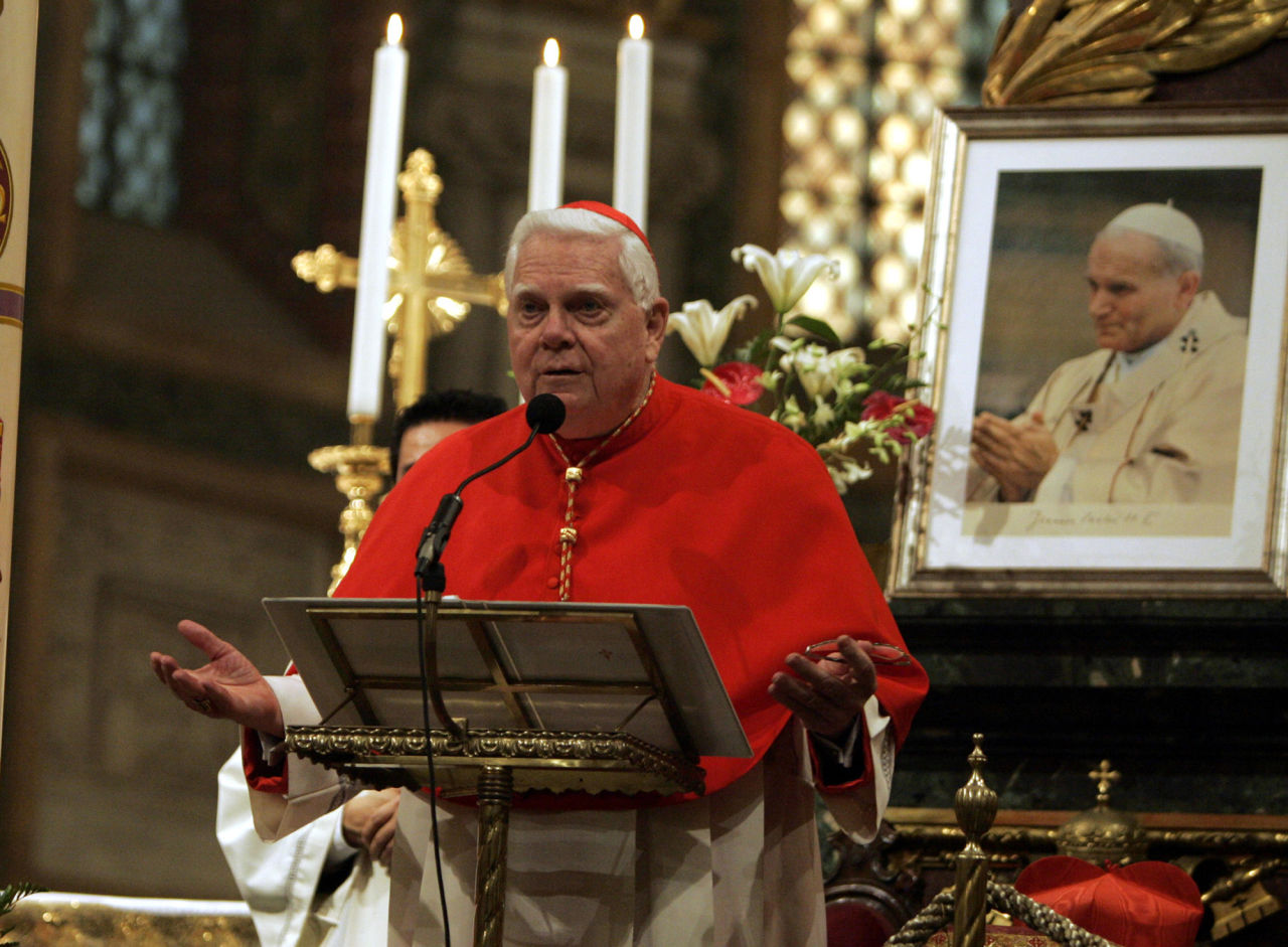 Cardinal Bernard Law leads a Mass celebrated in the Pope John Paul II's memory, at the St. Mary Major Basilica in Rome in 2005. Cardinal Law resigned in disgrace as archbishop of Boston over his role in the clergy sex abuse crisis. He died Dec. 20, 2017. (Luca Bruno/AP)