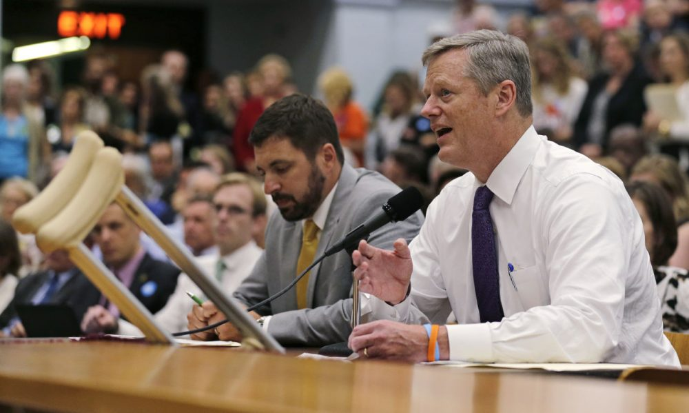 Gov. Charlie Baker testifies at a hearing regarding two energy bills at the State House Tuesday. (Charles Krupa/AP)