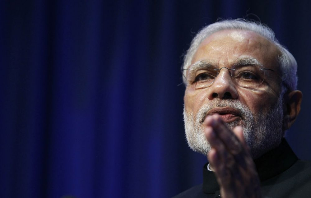 Indian Prime Minister Narendra Modi speaking in Ireland on Sept. 23. He will be visiting Silicon Valley Saturday, Sept. 26, hoping to create a stronger relationship between the nation's largest tech companies and India. (Peter Morrison/AP)