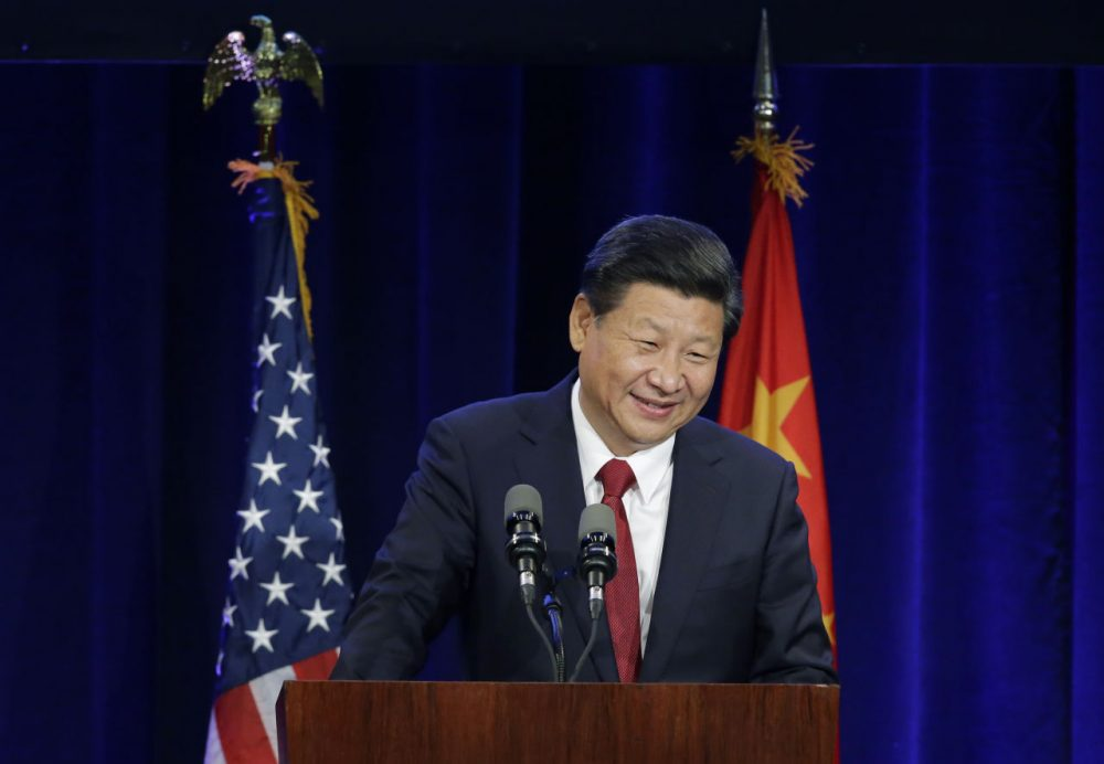 Chinese President Xi Jinping speaks Tuesday, Sept. 22, 2015, at a banquet in Seattle. Xi was in Seattle on his way to Washington, D.C., for a White House state dinner on Friday. (Ted S. Warren/AP)
