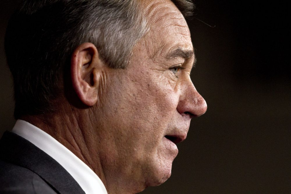 House Speaker John Boehner speaks during a press conference on Capitol Hill Friday following news that he would resign in October. Boehner was facing the threat of a floor vote on whether he could stay on as speaker, a formal challenge that hasn't happened in over 100 years. (Jacquelyn Martin/AP