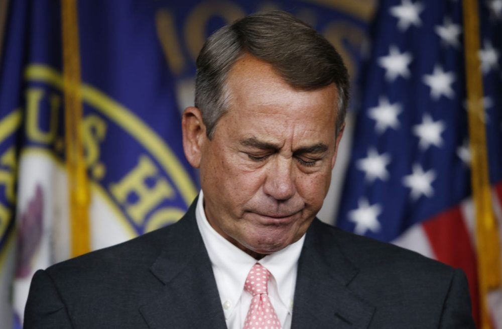 House Speaker John Boehner of Ohio pauses during a news conference on Capitol Hill in Washington, Friday, Sept. 25, 2015. In a stunning move, Boehner informed fellow Republicans on Friday that he would resign from Congress at the end of October, stepping aside in the face of hardline conservative opposition that threatened an institutional crisis. (Steve Helber/AP)