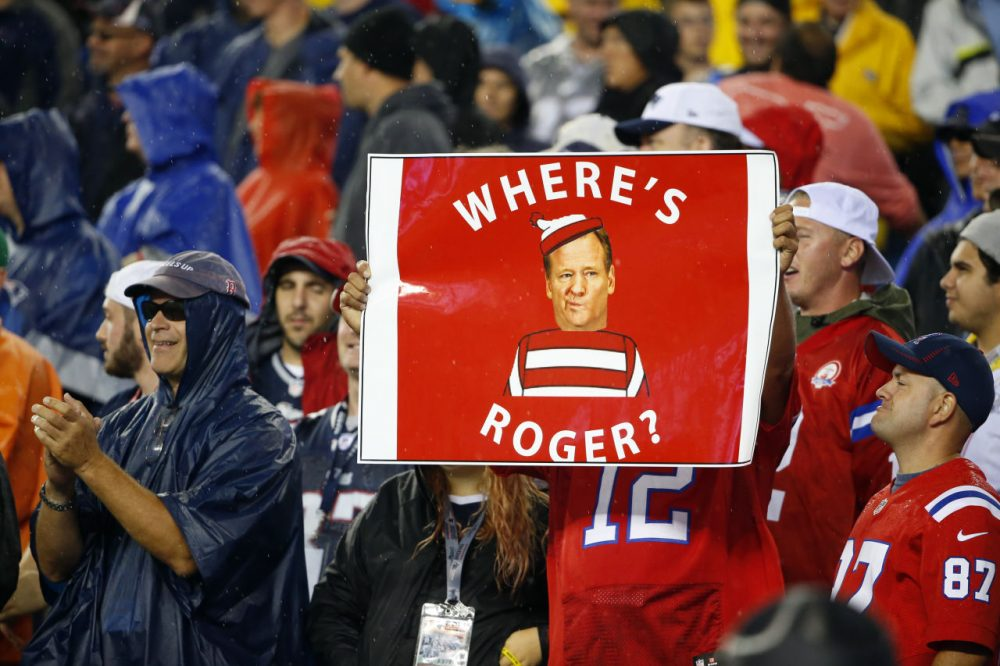 After the Deflategate and Spygate fallout, a fan flew this at the first New England Patriots game of the season against the Pittsburgh Steelers. (Winslow Townson/AP)