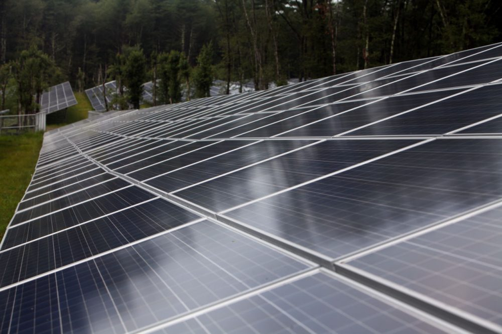 "The NRG shared solar project in Freetown, Mass. was the first NRG shared solar, or ""community solar,"" facility in the state. (Aynsley Floyd/AP for NRG)"
