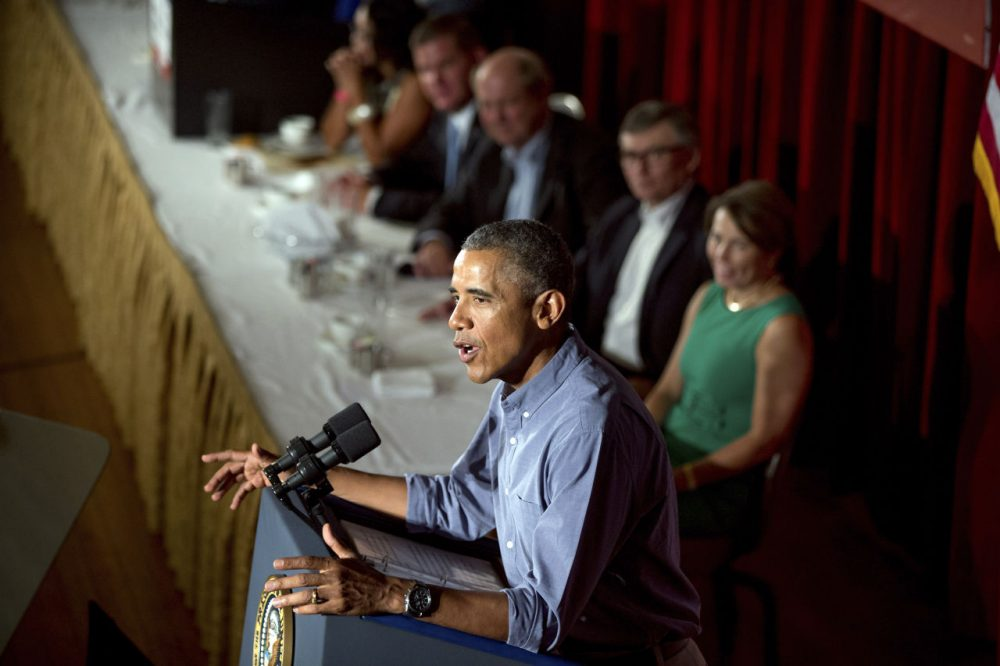 President Obama speaks at the Greater Boston Labor Council Labor Day Breakfast Monday. (Andrew Harnik/AP)