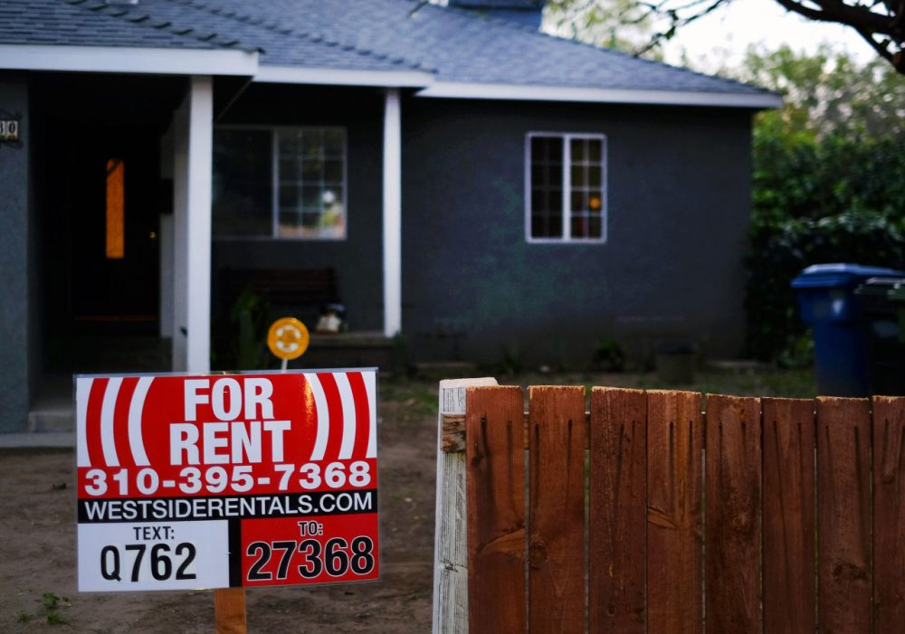 A sign advertises for a house for rent in Los Angeles in February 2015.(Richard Vogel/AP)