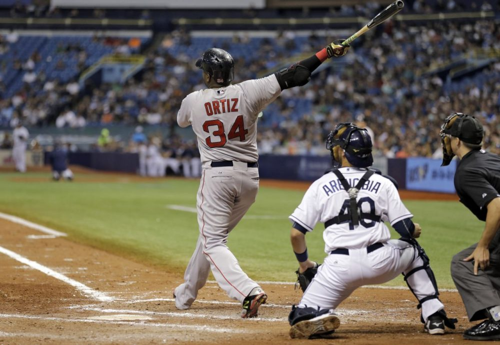 David Ortiz watches his 500th career home run off Tampa Bay Rays starting pitcher Matt Moore during the fifth inning of a baseball game.  (Chris O'Meara/AP)