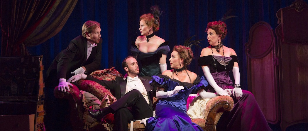 """The chorus of """"A Little Night Music"""" at the Huntington Theatre Company.  From left to right, Andrew O'Shanick, Nick Sulfaro, Aimee Doherty,  Wendi Bergamini  and Amy Barker.  Four of the singers (excluding Bergamini) are among several local actors in the production. (Courtesy T. Charles Erickson/Huntington Theatre Company)"""