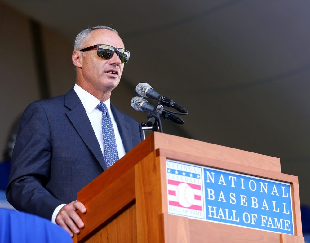 MLB Commissioner Rob Manfred denied a request to reinstate Shoeless Joe Jackson, who was banned from baseball in 1920. If reinstated, Jackson would have been able to be elected, posthumously, to the baseball Hall of Fame. ( Elsa/Getty Images)