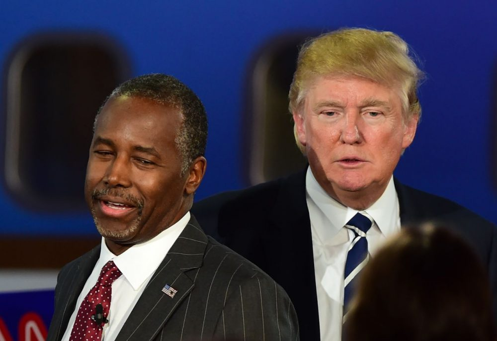 Republican presidential hopefuls  Ben Carson and Donald Trump at a GOP debate on Sept. 16, 2015 at the Ronald Reagan Presidential Library. (Frederic J. Brown/AFP/Getty Images)