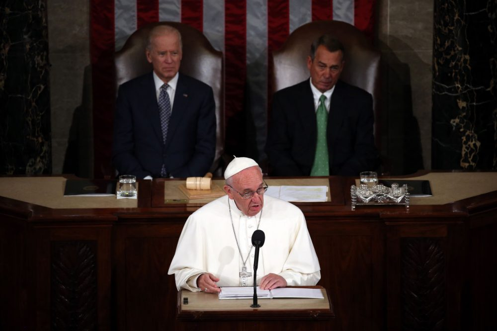 Pope Francis becomes the first pope to address a joint meeting of the U.S. Congress on Sept. 24, 2015. (Mark Wilson/Getty Images)