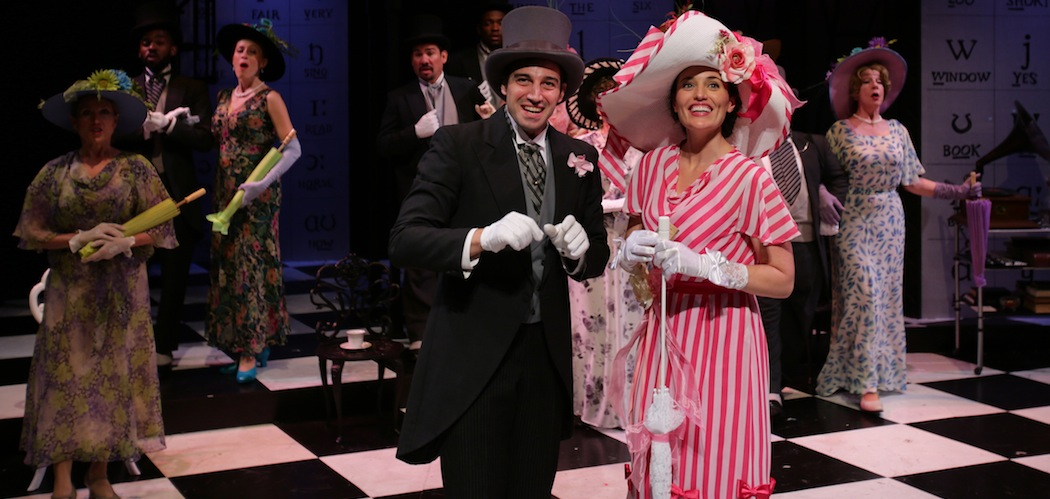 Jared Troilo, Jennifer Ellis, and the ensemble of 'My Fair Lady' at Lyric Stage Company of Boston (Mark S. Howard)