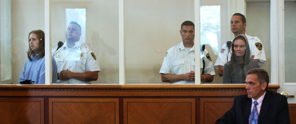 Rachelle Bond and Michael McCarthy appeared in court Monday morning to face charges in the death of Bond's daughter, Bella. (Pat Greenhouse/The Boston Globe via AP, Pool)