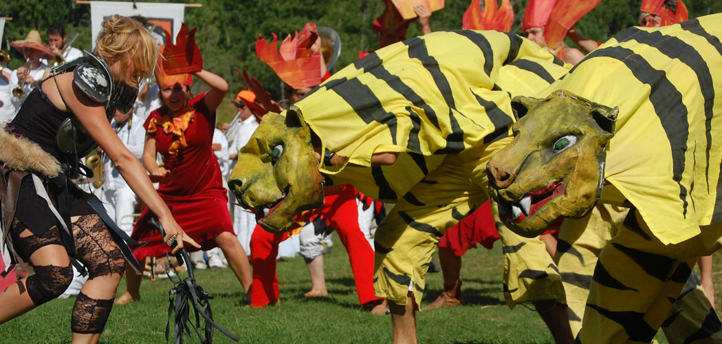"Bread and Puppet Theater's ""The Overtakelessness Circus"" as performed in Glover, Vermont, on Aug. 23. (Greg Cook/WBUR)"