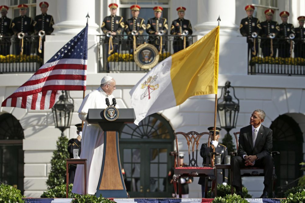 Are Catholics coming back to the church?  Pope Francis spoke to Americans of all religions and classes this morning on the White House lawn. (AP Photo/Pablo Martinez Monsivais)