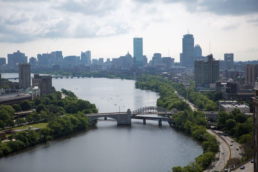 The Charles River looking east and the Boston skyline. (Jesse Costa/WBUR)