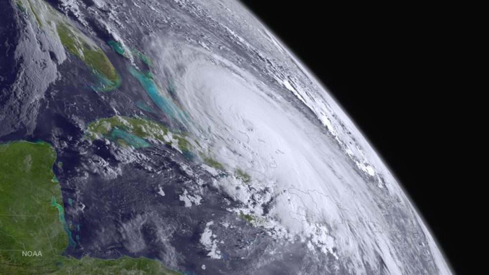 In this handout from the National Oceanic and Atmospheric Administration (NOAA), Hurricane Joaquin is seen churning in the Atlantic on October 1, 2015. Joaquin was upgraded to a Category 3 hurricane early on October 1. The exact track has yet to be determined, but there is a possibility of landfall in the U.S. anywhere from North Carolina to the Northeast. (NOAA via Getty Images)