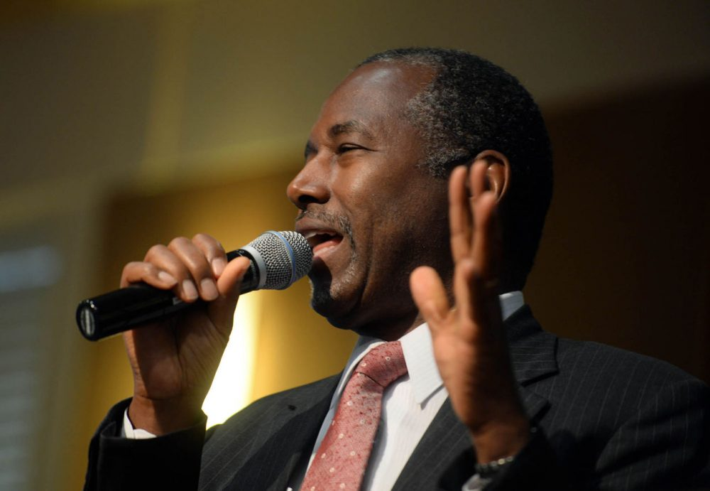 Republican presidential candidate Ben Carson speaks during a town hall event at River Woods September 30, 2015 in Exeter, New Hampshire. (Darren McCollester/Getty Images)