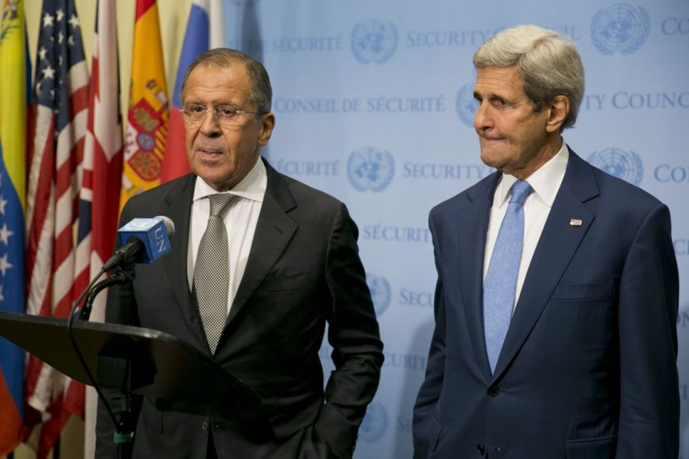 U.S. Secretary of State John Kerry (right) and Russian Foreign Minister Sergey Lavrov speak to the media after a meeting concerning  Syria at the United Nations headquarters in New York on September 30, 2015. ( Dominick Reuter/AFP/Getty Images)