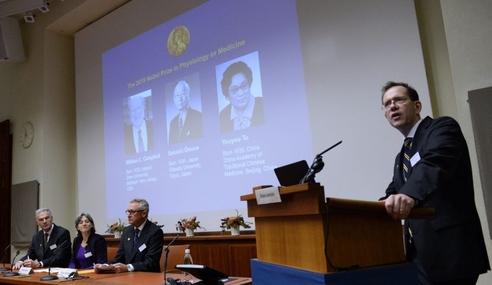 Urban Lendahl (right), Secretary of the Nobel Committee for Physiology or Medicine, addresses a press conference of the Nobel Committee to announce the winners of the 2015 Nobel Medicine Prize on October 5, 2015 at the Karolinska Institutet in Stockholm, Sweden. Irish-born William Campbell, Satoshi Omura of Japan and China's Youyou Tu (their portraits are displayed on the screen in background) are the laureates of the Nobel Prize in Physiology or Medicine 2015. (Jonathan Nackstrand/AFP/Getty Images)