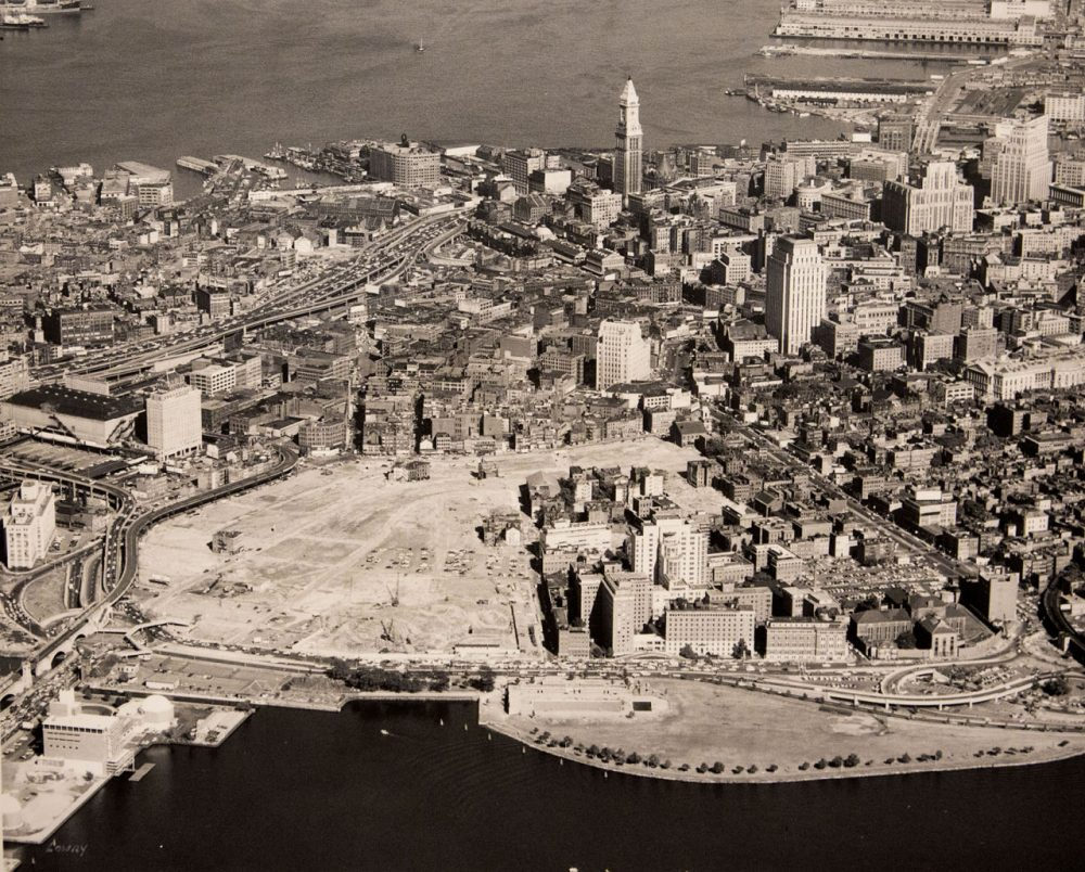 Boston's West End in 1959, after it was razed. A new exhibit looks at the history and future of urban renewal. (Photo by Laurence Lowry, courtesy of the West End Museum)