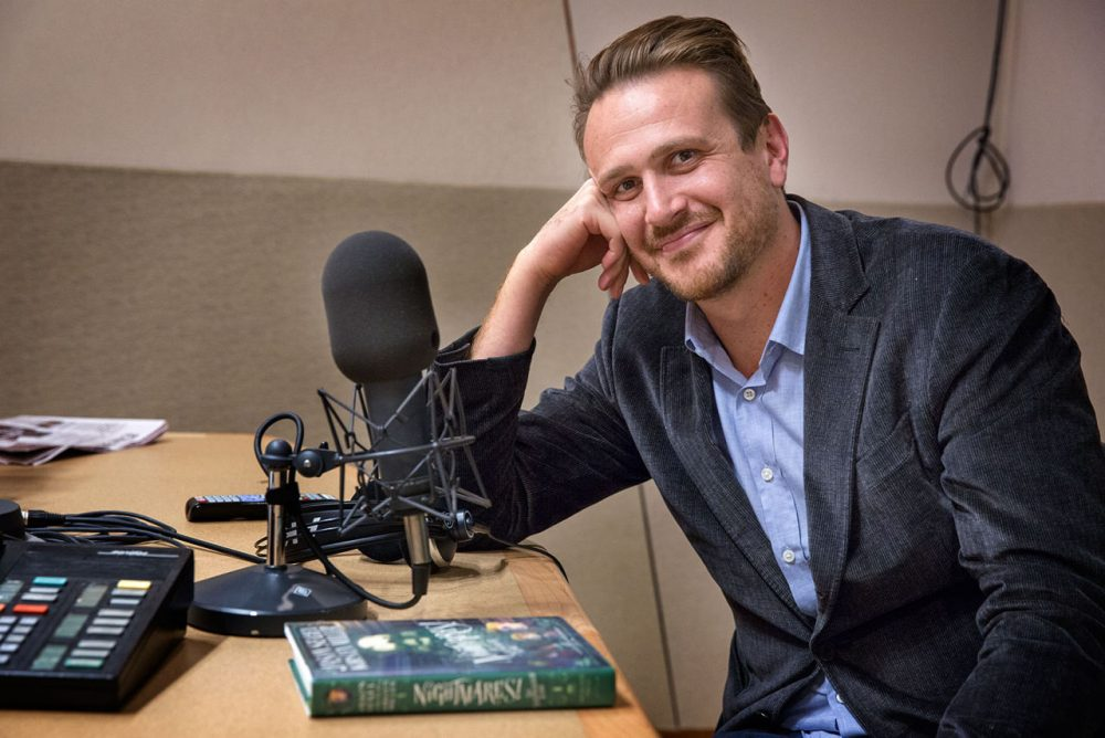 Actor, author and screenwriter Jason Segel in WBUR's studios. (Robin Lubbock/WBUR)