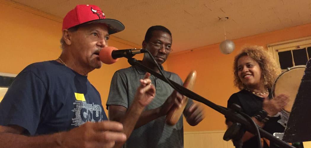 Jorge Arce y Raiz de Plena practice for Saturday's festival. (Simón Rios/WBUR)