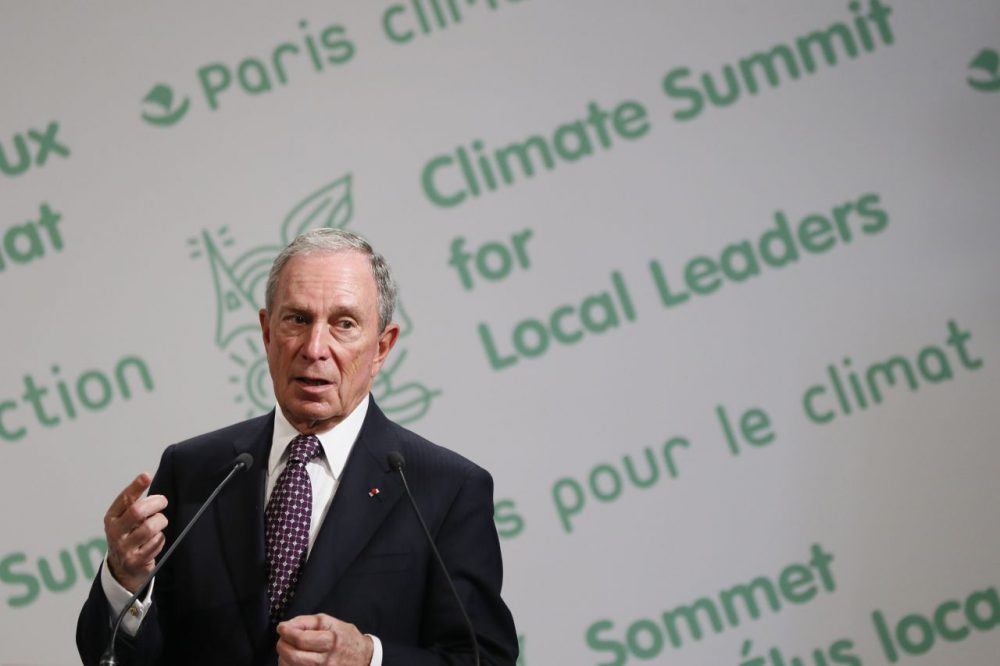 The U.N. Secretary-General's Special Envoy for Cities and Climate Change, Michael Bloomberg, speaks during the launching of the Climate Summit for Local Leaders on June 30, 2015 at the Paris city hall. (Patrick Kovarik/AFP/Getty Images)