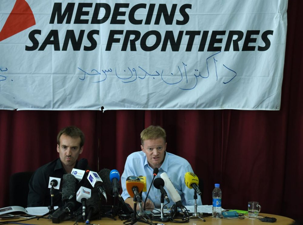 General Director of Doctors Without Borders, or Médecins Sans Frontières (MSF), Christopher Stokes (right) and Country Representative for MSF in Afghanistan Guilhem Molinie speak during a press conference at the MSF office in Kabul on October 8, 2015. U.S. President Barack Obama apologized to Doctors Without Borders (MSF) on October 7 for a deadly U.S. airstrike on an Afghan hospital, as the medical charity demanded an international investigation. Three separate probes -- by the U.S. military, NATO and Afghan officials -- are underway into the October 3 strike in Kunduz that left 22 people dead. (Wakil Kohsar/AFP/Getty Images)